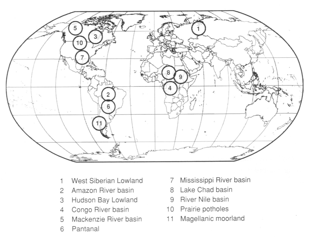 World's largest wetlands map of 11 key areas